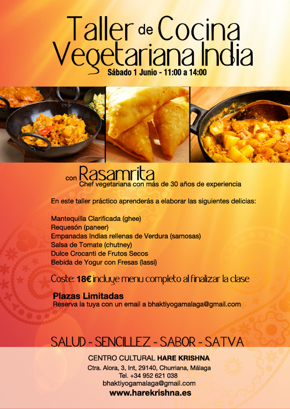 Taller de Cocina Vegetariana de la India – 1 Junio | Hare Krishna